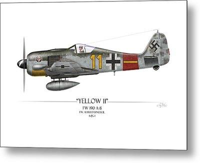 Yellow 11 Focke-wulf Fw 190 - White Background Metal Print by Craig Tinder