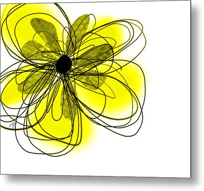Yellow Abstract Flower Art  Metal Print by Ann Powell