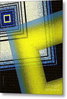 Yellow And Blue Art With Textures Metal Print by Mario Perez