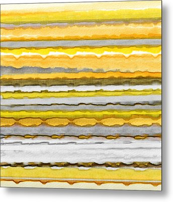 Yellow And Gray Stripes Art Metal Print by Lourry Legarde