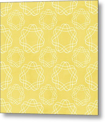 Yellow And White Geometric Floral  Metal Print by Linda Woods