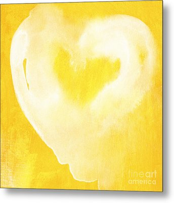 Yellow And White Love Metal Print by Linda Woods