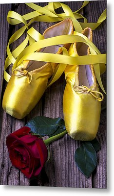 Yellow Ballet Shoes Metal Print by Garry Gay