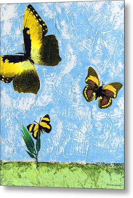 Yellow Butterflies - Spring Art By Sharon Cummings Metal Print by Sharon Cummings