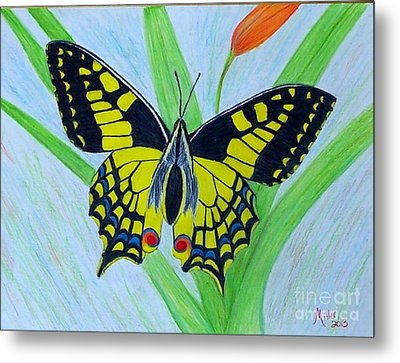 Yellow Butterfly Metal Print by Peggy Miller