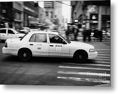 Yellow Cab Blurring Past Crosswalk And Pedestrians New York City Usa Metal Print by Joe Fox
