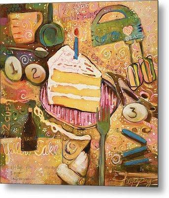 Yellow Cake Recipe Metal Print by Jen Norton