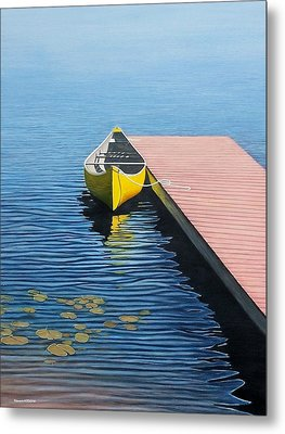 Yellow Canoe Metal Print by Kenneth M  Kirsch