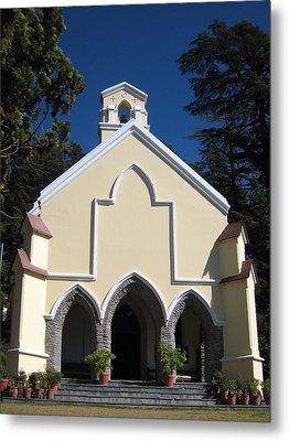 Yellow Church Blue Sky Metal Print by Russell Smidt
