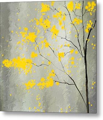 Yellow Foliage Impressionist Metal Print by Lourry Legarde