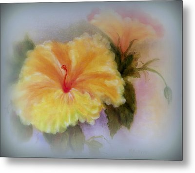 Yellow Hibiscus Metal Print by Kay Novy