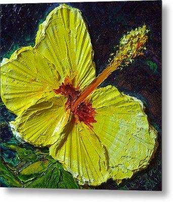 Yellow Hibiscus Metal Print by Paris Wyatt Llanso