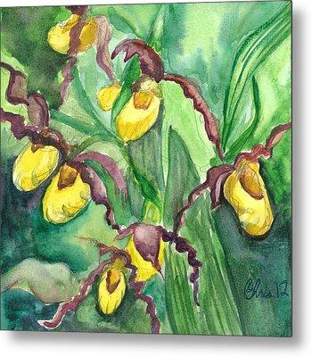 Yellow Ladies Slippers Metal Print by Christina Plichta