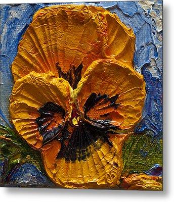 Yellow Pansy Metal Print by Paris Wyatt Llanso