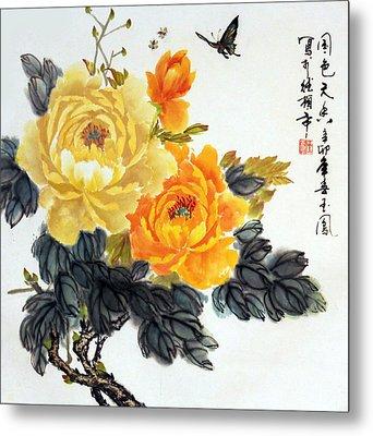 Yellow Peonies Metal Print by Yufeng Wang