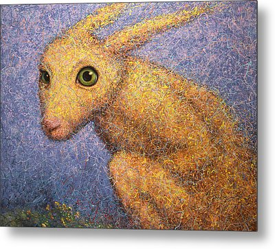 Yellow Rabbit Metal Print by James W Johnson
