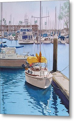 Yellow Sailboat Oceanside Metal Print by Mary Helmreich