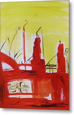 Yellow Sky Industry Metal Print by Mary Carol Williams