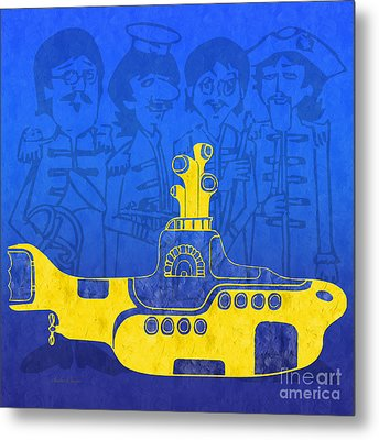 Yellow Submarine Metal Print by Andee Design