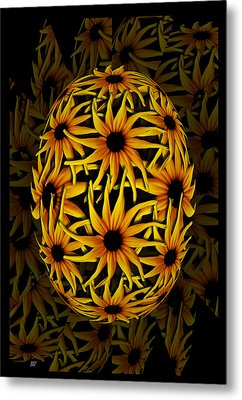 Yellow Sunflower Seed Metal Print by Barbara St Jean