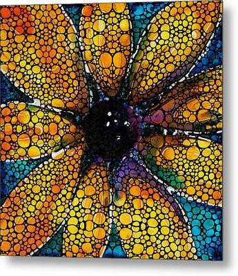 Yellow Sunflower - Stone Rock'd Art By Sharon Cummings Metal Print by Sharon Cummings