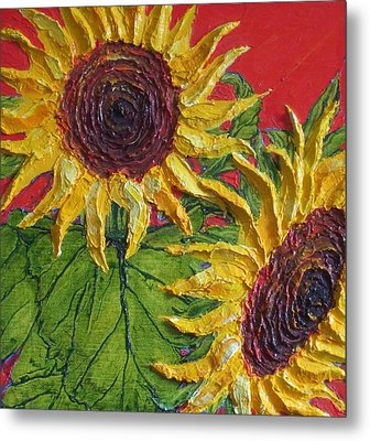 Yellow Sunflowers On Red Metal Print by Paris Wyatt Llanso