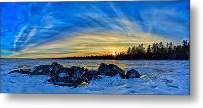 Yellow Sunset At Meddybemps Panorama Metal Print by Bill Caldwell -        ABeautifulSky Photography