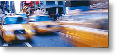 Yellow Taxis On The Road, Times Square Metal Print by Panoramic Images