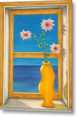 Yellow Vase With Sea View Metal Print by Pamela Allegretto