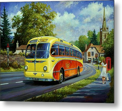 Yelloways Seagull Coach. Metal Print by Mike  Jeffries