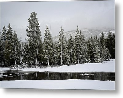 Yellowstone Gibbon Meadows Spring Snow And Reflection Metal Print by Bruce Gourley