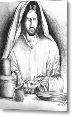 Yeshua Breaking Bread Metal Print by Marvin Barham