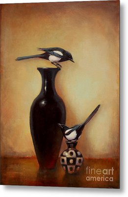 Yin Yang - Magpies  Metal Print by Lori  McNee