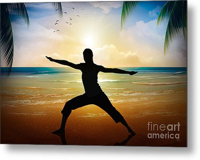 Yoga On Beach Metal Print by Bedros Awak