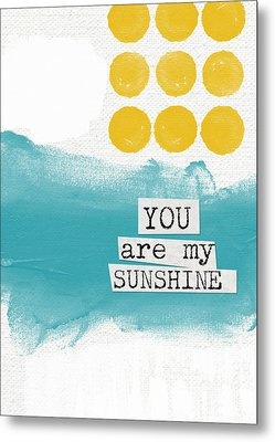 You Are My Sunshine- Abstract Mod Art Metal Print by Linda Woods
