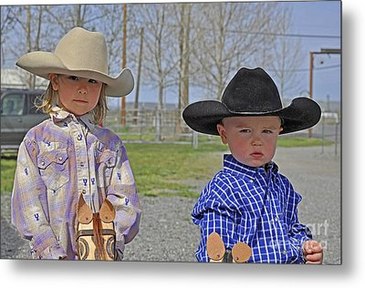 Young Cowboy And Cowgirl Stick Ponies Metal Print by Valerie Garner