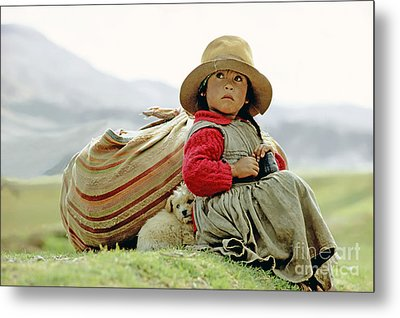 Young Girl In Peru Metal Print by  Victor Englebert