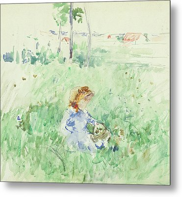 Young Girl Seated On The Lawn Metal Print by Berthe Morisot