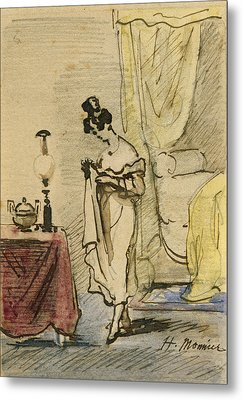 Young Lady At Home Ink & Wc On Paper 2jeune Fille Dans Un Interieur; Intimite; Metal Print by Henri Bonaventure Monnier