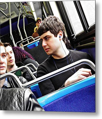 Young Men On The M4 Bus Metal Print by Sarah Loft