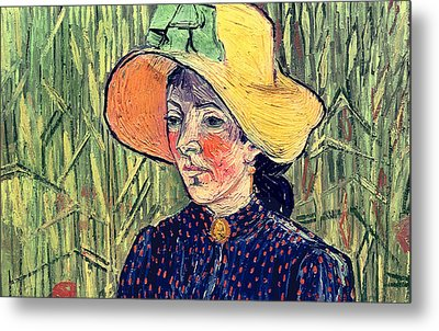 Young Peasant Girl In A Straw Hat Sitting In Front Of A Wheatfield Metal Print by Vincent van Gogh
