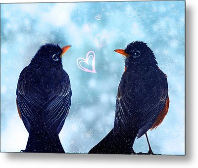 Young Robins In Love Metal Print by Lisa Knechtel