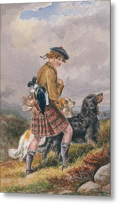 Young Scottish Gamekeeper With Dead Game Metal Print by English School