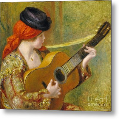 Young Spanish Woman With A Guitar Metal Print by Pierre Auguste Renoir