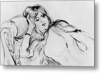 Young Woman At Rest Metal Print by Berthe Morisot