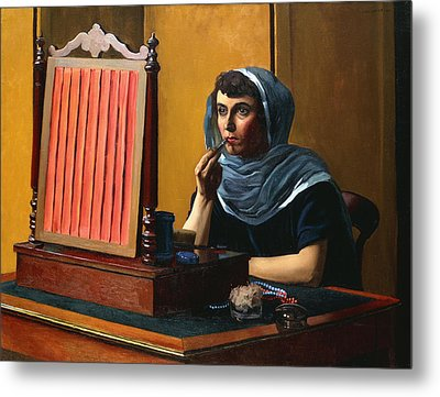 Young Woman Putting On Lipstick Metal Print by Felix Edouard Vallotton