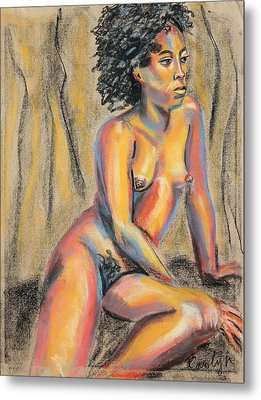 Young Woman Resting And Contemplating Metal Print by Asha Carolyn Young