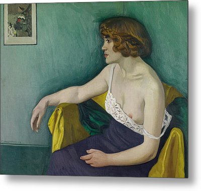 Young Woman Seated In Profile Metal Print by Felix Edouard Vallotton