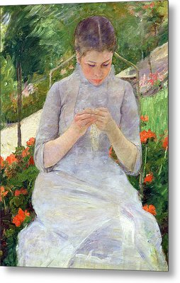 Young Woman Sewing In The Garden Metal Print by Mary Stevenson Cassatt