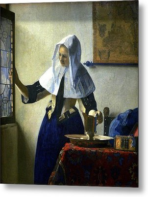 Young Woman With A Water Pitcher Metal Print by Johannes Vermeer